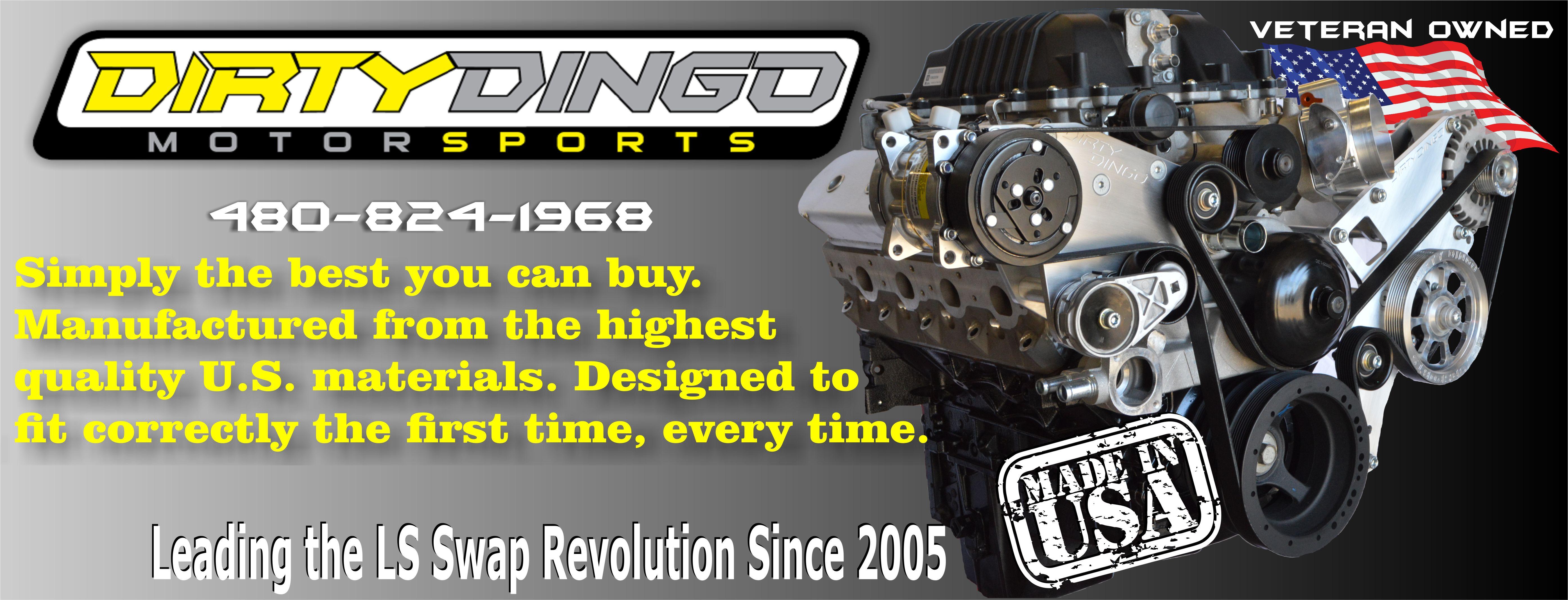Dirty Dingo Motorsports Gm Ls Gen 3 Ls1 4 Conversion Swap Engine 98 Chevy Vortec Mounts And Accessory Brackets